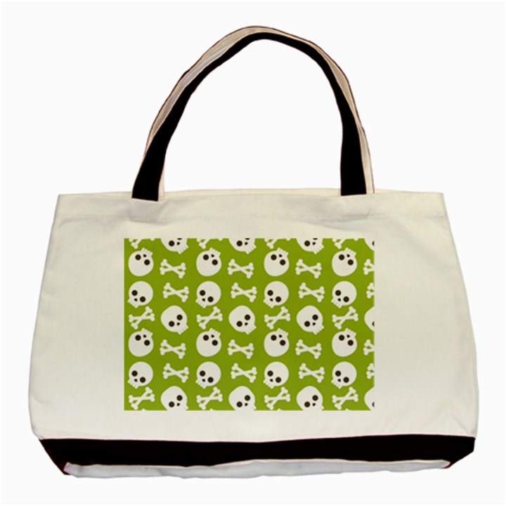 Skull Bone Mask Face White Green Basic Tote Bag