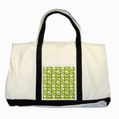 Skull Bone Mask Face White Green Two Tone Tote Bag