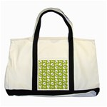 Skull Bone Mask Face White Green Two Tone Tote Bag Front