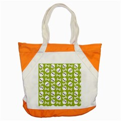 Skull Bone Mask Face White Green Accent Tote Bag