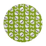 Skull Bone Mask Face White Green Round Ornament (Two Sides) Front