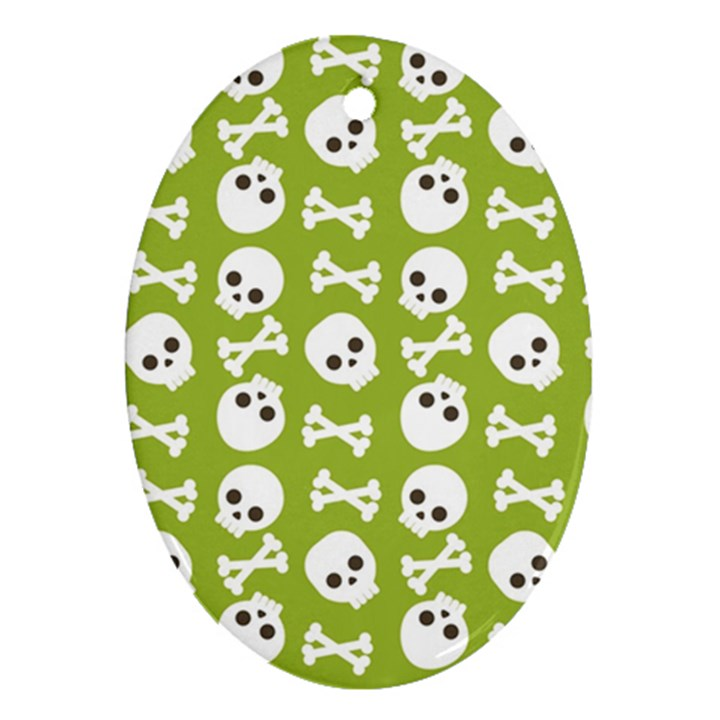 Skull Bone Mask Face White Green Oval Ornament (Two Sides)