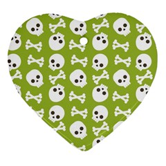 Skull Bone Mask Face White Green Heart Ornament (two Sides)
