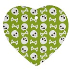 Skull Bone Mask Face White Green Heart Ornament (Two Sides) Back