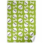 Skull Bone Mask Face White Green Canvas 12  x 18   18 x12 Canvas - 1