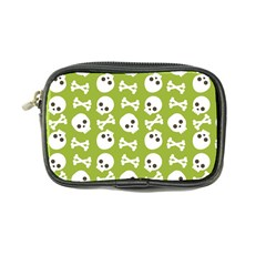Skull Bone Mask Face White Green Coin Purse