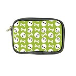 Skull Bone Mask Face White Green Coin Purse Front