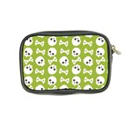 Skull Bone Mask Face White Green Coin Purse Back