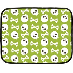 Skull Bone Mask Face White Green Double Sided Fleece Blanket (mini)  by Alisyart