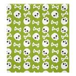 Skull Bone Mask Face White Green Shower Curtain 66  x 72  (Large)  58.75 x64.8 Curtain