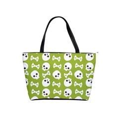 Skull Bone Mask Face White Green Shoulder Handbags