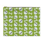 Skull Bone Mask Face White Green Cosmetic Bag (XL) Front