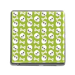 Skull Bone Mask Face White Green Memory Card Reader (square)