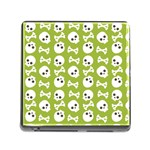 Skull Bone Mask Face White Green Memory Card Reader (Square) Front