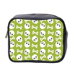 Skull Bone Mask Face White Green Mini Toiletries Bag 2 Side by Alisyart