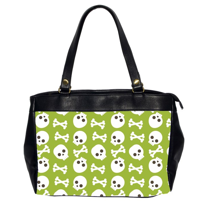 Skull Bone Mask Face White Green Office Handbags (2 Sides)