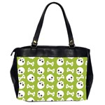 Skull Bone Mask Face White Green Office Handbags (2 Sides)  Back