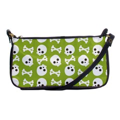 Skull Bone Mask Face White Green Shoulder Clutch Bags