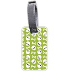 Skull Bone Mask Face White Green Luggage Tags (One Side)  Front