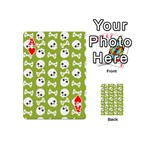 Skull Bone Mask Face White Green Playing Cards 54 (Mini)  Front - HeartA