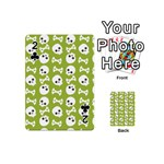Skull Bone Mask Face White Green Playing Cards 54 (Mini)  Front - Club2