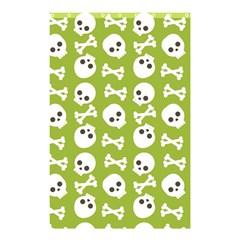 Skull Bone Mask Face White Green Shower Curtain 48  X 72  (small)