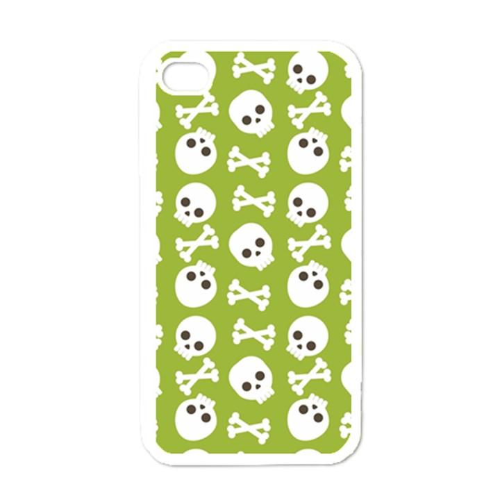 Skull Bone Mask Face White Green Apple iPhone 4 Case (White)