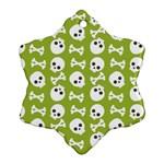 Skull Bone Mask Face White Green Ornament (Snowflake) Front