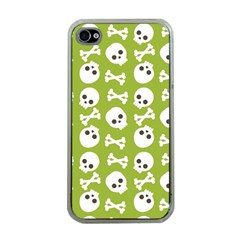 Skull Bone Mask Face White Green Apple Iphone 4 Case (clear)