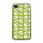 Skull Bone Mask Face White Green Apple iPhone 4 Case (Clear) Front