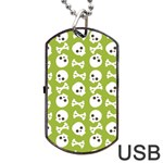 Skull Bone Mask Face White Green Dog Tag USB Flash (Two Sides) Front