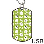 Skull Bone Mask Face White Green Dog Tag USB Flash (Two Sides) Back