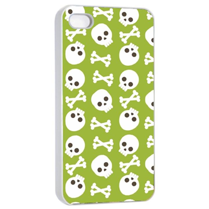 Skull Bone Mask Face White Green Apple iPhone 4/4s Seamless Case (White)