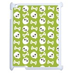 Skull Bone Mask Face White Green Apple iPad 2 Case (White) Front