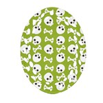 Skull Bone Mask Face White Green Ornament (Oval Filigree) Front