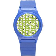 Skull Bone Mask Face White Green Round Plastic Sport Watch (s) by Alisyart