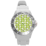 Skull Bone Mask Face White Green Round Plastic Sport Watch (L) Front