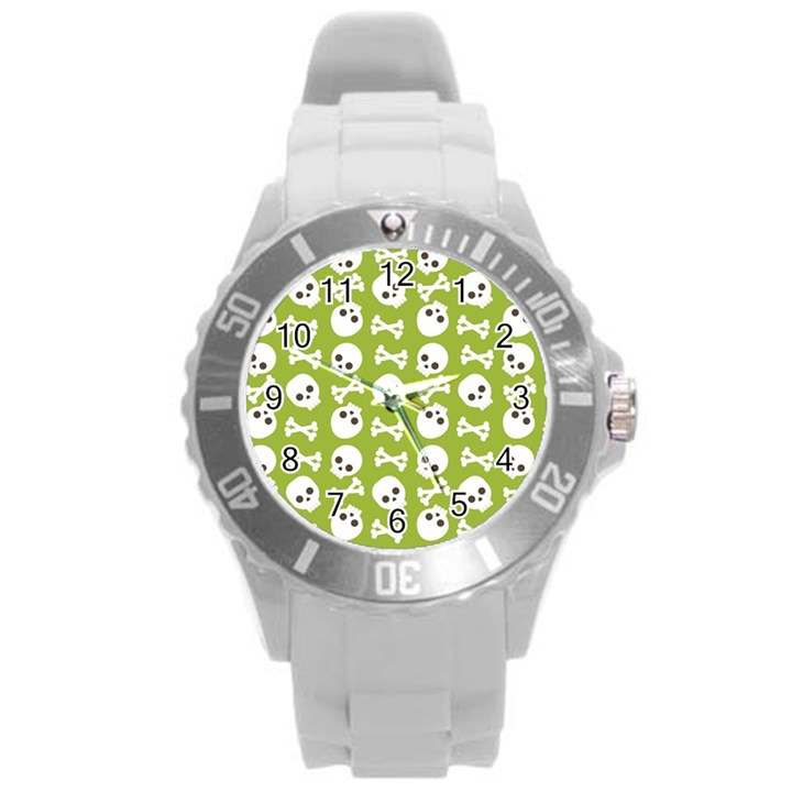 Skull Bone Mask Face White Green Round Plastic Sport Watch (L)