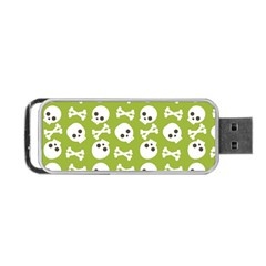Skull Bone Mask Face White Green Portable Usb Flash (two Sides) by Alisyart