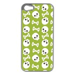 Skull Bone Mask Face White Green Apple iPhone 5 Case (Silver) Front