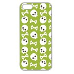 Skull Bone Mask Face White Green Apple Seamless iPhone 5 Case (Clear) Front