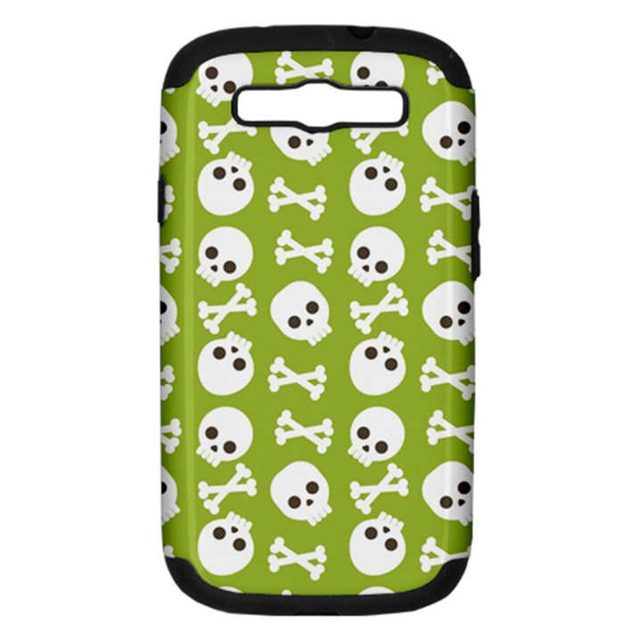 Skull Bone Mask Face White Green Samsung Galaxy S III Hardshell Case (PC+Silicone)