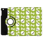Skull Bone Mask Face White Green Apple iPad Mini Flip 360 Case Front