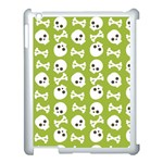 Skull Bone Mask Face White Green Apple iPad 3/4 Case (White) Front