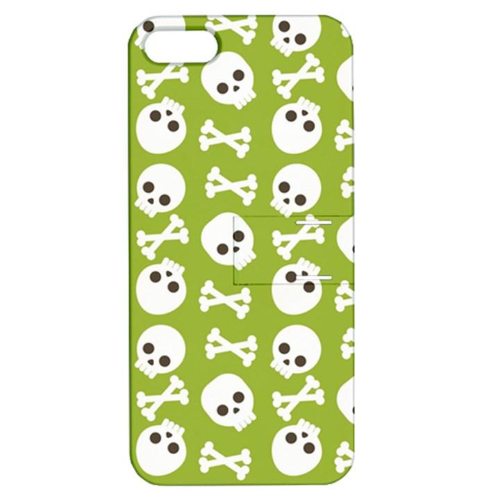 Skull Bone Mask Face White Green Apple iPhone 5 Hardshell Case with Stand