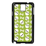 Skull Bone Mask Face White Green Samsung Galaxy Note 3 N9005 Case (Black) Front