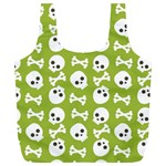 Skull Bone Mask Face White Green Full Print Recycle Bags (L)  Front