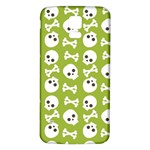 Skull Bone Mask Face White Green Samsung Galaxy S5 Back Case (White) Front