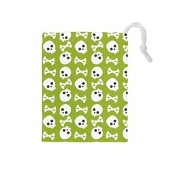 Skull Bone Mask Face White Green Drawstring Pouches (medium)