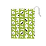 Skull Bone Mask Face White Green Drawstring Pouches (Medium)  Front